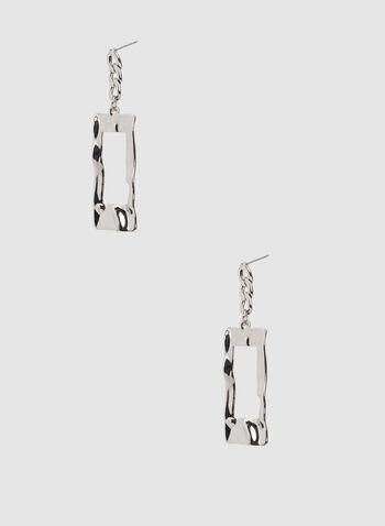 Hammered Metal Drop Earrings, Silver, hi-res,  loop earrings, hoop earrings