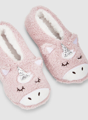 Unicorn Slippers, Pink,  slippers, sleepwear, unicorn, non-slip, fall 2019, winter 2019
