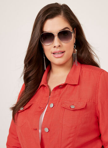 Veste style denim en lin et viscose, Rouge, hi-res