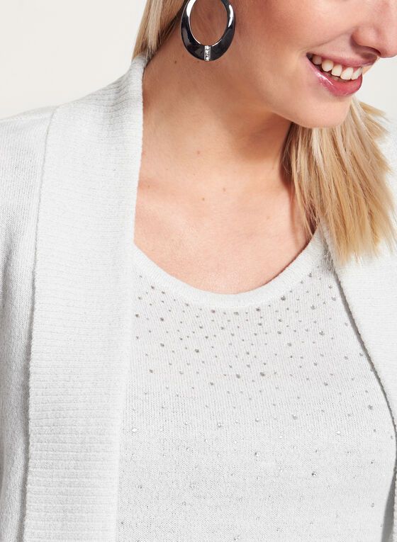 Embellished Metallic Knit Tank Top with Cardigan, Off White, hi-res