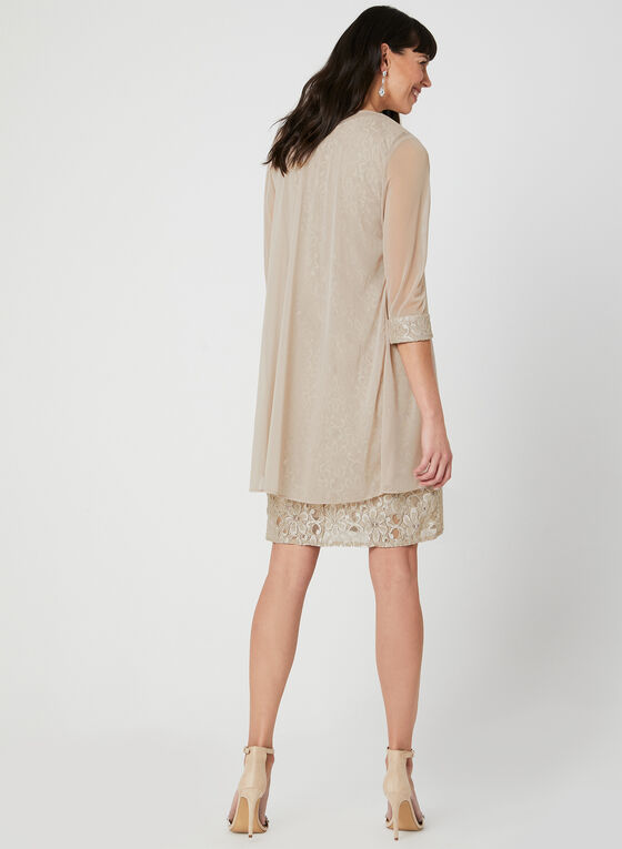 Glitter Lace Dress & Chiffon Duster, Off White