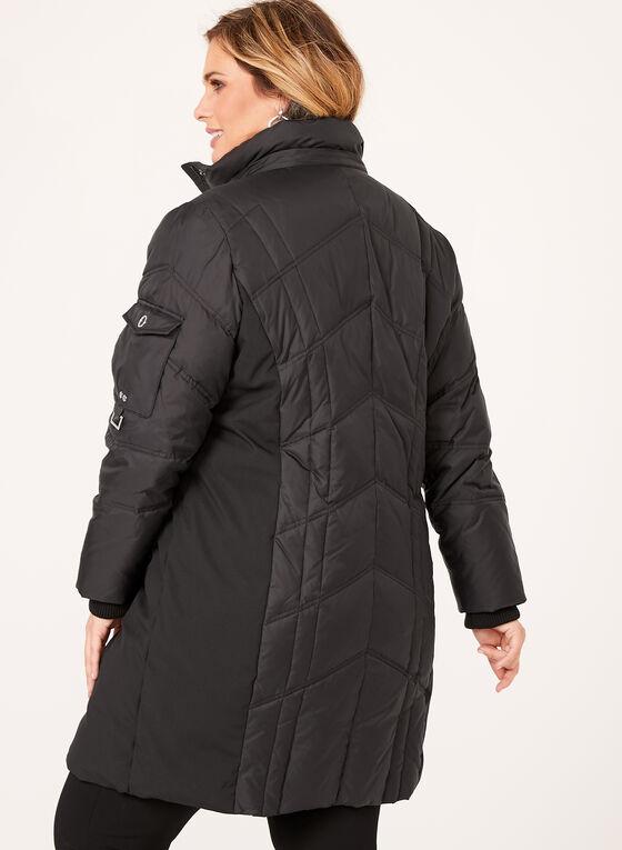 Manteau matelassé à capuchon avec fausse fourrure, Noir, hi-res