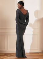 Draped Metallic Gown , Black