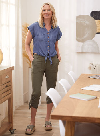Tie Detail Blouse, Blue,  fall winter 2021, tops, shirts, tencel, button up, button-up, button down, button-down, tortoise buttons, pleated, short sleeves, rolled sleeves,