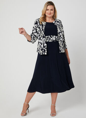 Floral Print Dress & Jacket, Blue, hi-res