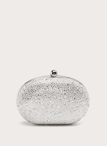 Crystal Detail Clutch , Silver, hi-res