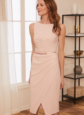 Joseph Ribkoff - Sleeveless Belted Dress, Pink,  dress, evening, occasion, sleeveless, boat neck, ribkoff, lyman spring summer 2021