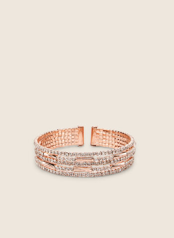 Multi-Row Crystal Cuff Bracelet, Pink,  bracelet, cuff, crystals, metallic, rows, spring summer 2020