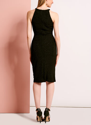Embellished Glitter Crepe Dress, Black, hi-res