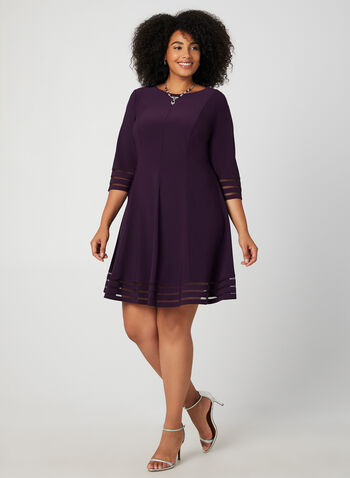 Jessica Howard - Mesh Detail Dress, Purple, hi-res,  fall winter 2019, dress, cocktail dress, jersey