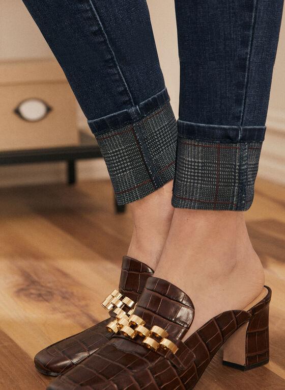 Plaid Print Detail Slim Leg Jeans, Blue