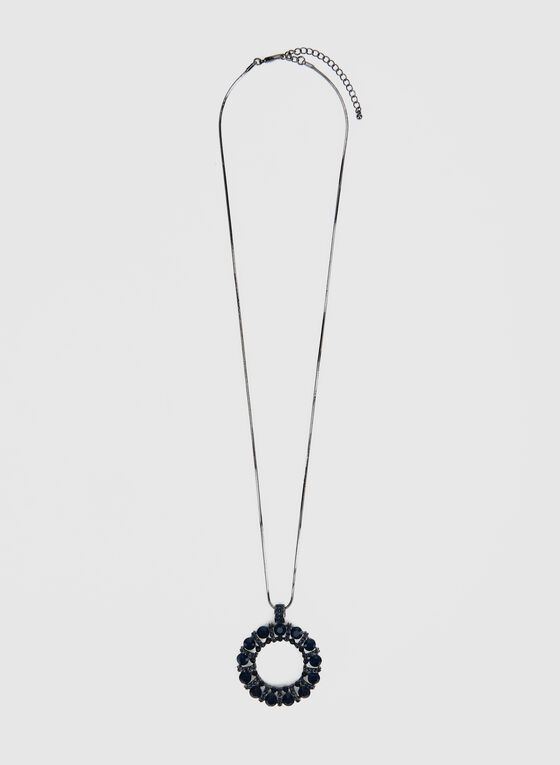 Long Crystal Wreath Pendant Necklace, Blue
