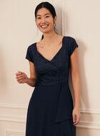 Glitter Lace Flounce Detail Dress, Blue