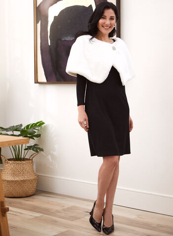 Short Faux Fur Wrap, Off White,  fall winter 2020, outerwear, wrap, cape, faux fur, brooch
