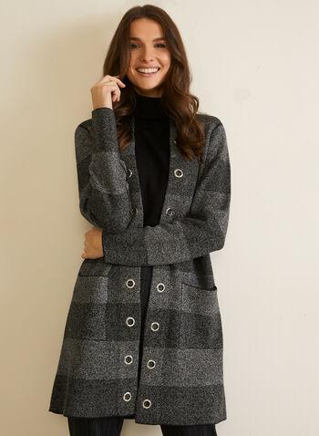 Cardigan rayé à détails œillets, Gris,  automne hiver 2020, cardigan, ouvert, manches longues, oeillets, tricot, poches, rayures, motif, rayé
