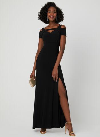 Robe ajustée à épaules ajourées, Noir, hi-res