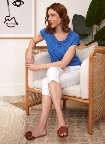 T-shirt à dentelle en coton et modal, Bleu,  t-shirt, dentelle, coton, modal, printemps été 2020