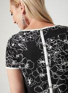 T-shirt floral à manches courtes et détails boutons , Noir, hi-res