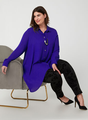 Joseph Ribkoff - Asymmetrical Tunic Blouse, Blue,  Joseph Ribkoff, blouse, tunic, long sleeves, button down, asymmetrical, fall 2019, winter 2019