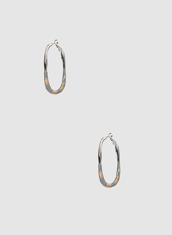 Oval Hoop Earrings, Multi, hi-res,  metallic, two-toned, thread, hoop earrings, hoops, earrings, fall 2019, winter 2019