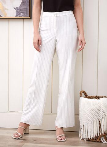 Pinstripe Print Wide Leg Pants, White,  pants, wide leg, modern fit, pinstripe, pleats, spring summer 2021
