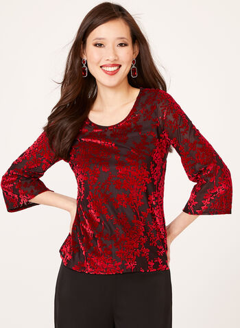 Sheer Flocked Top, Red, hi-res
