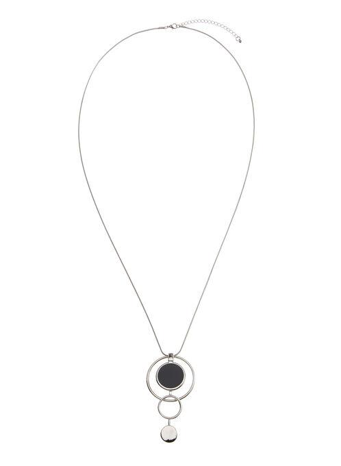 Collier géométrique avec pendentif disques et anneaux, Bleu, hi-res