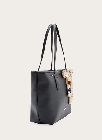 Tote Bag With Scarf Detail, Black, hi-res