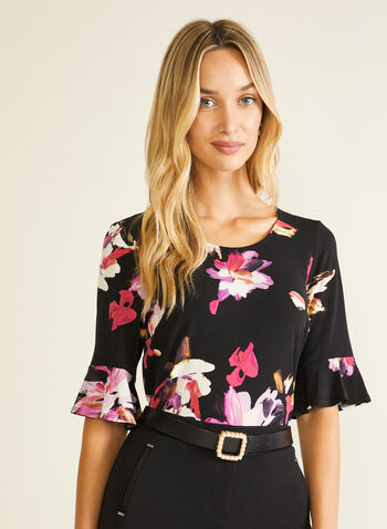 Floral Print 3/4 Sleeve Top, Black,  top, floral, ruffled sleeves, jersey, 3/4 sleeves, spring summer 2020