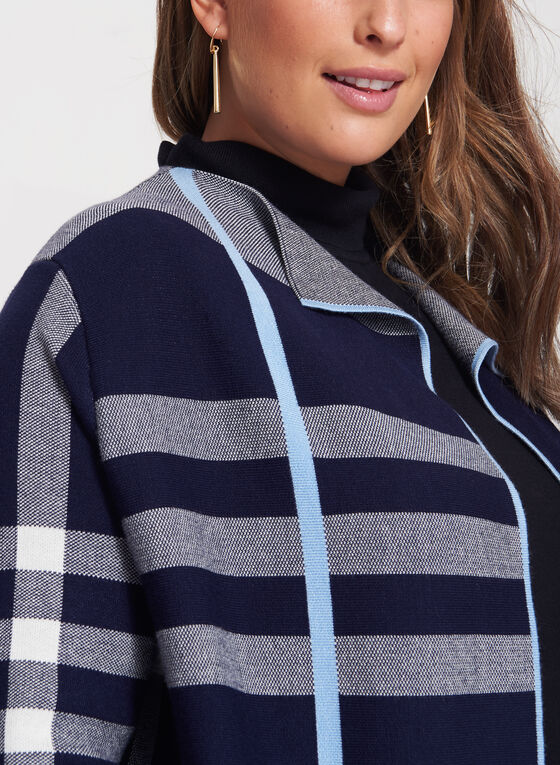 Plaid Double Knit Open Front Cardigan, Blue, hi-res