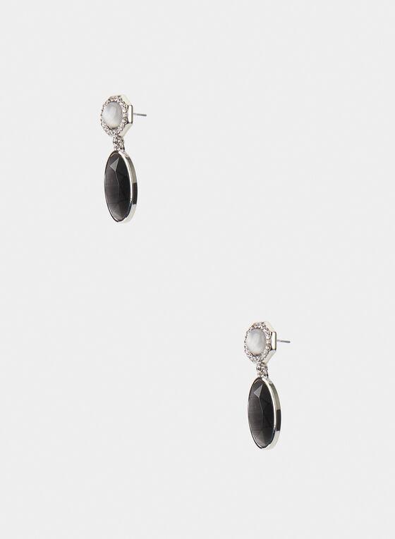 Oval Dangle Earrings, Grey