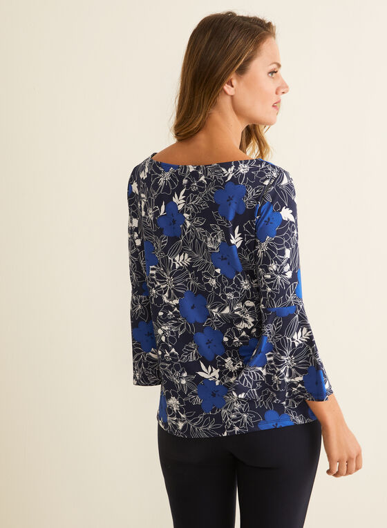 Floral Print Bell Sleeve Top, Blue