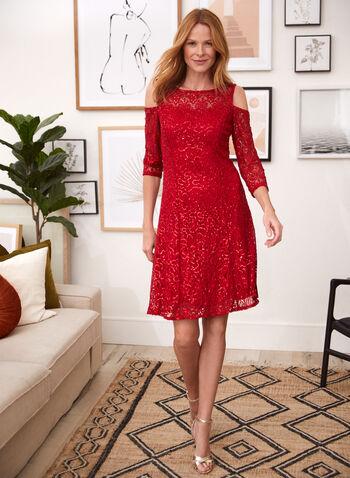 Cold Shoulder Sequin Lace Dress, Red,  cocktail dress, lace, sequins, fit & flare, 3/4 sleeves, illusion, cold shoulder, spring summer 2020