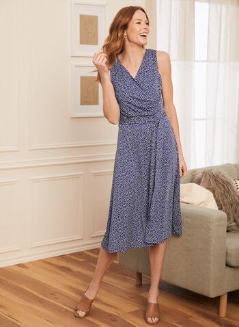Dotted Print Faux Crossover Dress, Blue,  dress, day, dotted, sash, belted, sleeveless, crossover, wrap, midi, jersey, spring summer 2021