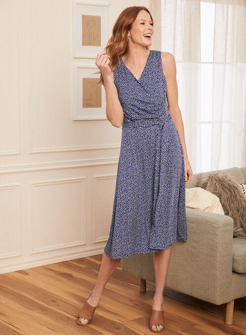 Dotted Print Faux Crossover Dress, Blue