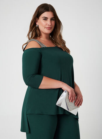 Joseph Ribkoff - Jersey Jumpsuit, Green, hi-res,  Canada, Joseph Ribkoff, wide leg, jumpsuit, 3/4 sleeves, long sleeves, asymmetrical, jersey, fall 2019, winter 2019