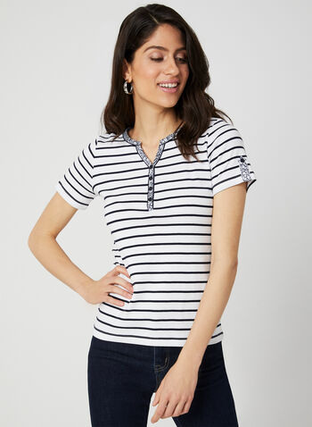 Stripe Print T-Shirt, White, hi-res,  stripe print, spring 2019, summer 2019, t-shirt, short sleeves, cotton