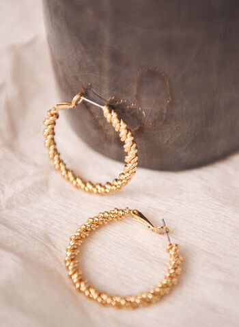 Twist Texture Hoop Earrings, Gold,  jewellery, earrings, hoop, twist, metallic, spring summer 2021