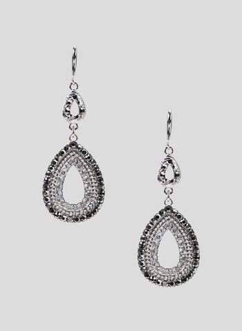 Teardrop Dangle Earrings, Grey, hi-res