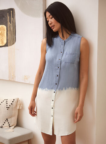 Charlie B - Two Tone Dress, Blue,  spring summer 2021, dresses, round neck, crew neck, madarin neck, no sleeves, breast pocket, button down, button up, 2 tone,