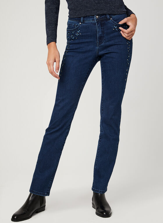 Modern Fit Straight Leg Jeans , Blue, hi-res