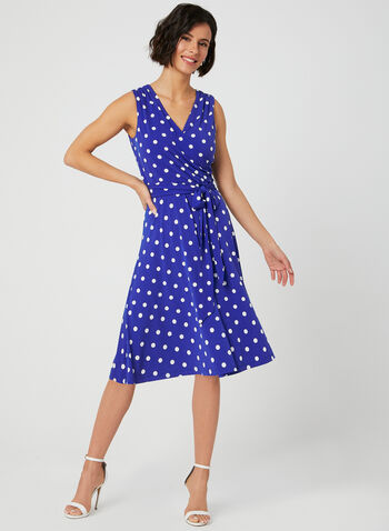 Polka Dot Surplice Dress, Blue, hi-res,  fit and flare, polka dots, wrap dress, crossover dress, spring 2019