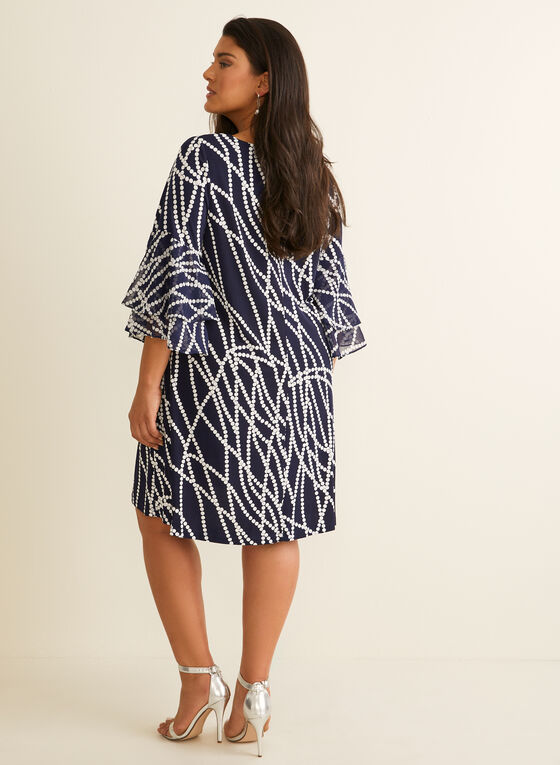 Textured Pearl Print Dress, Blue