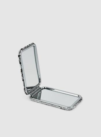 Faux Snakeskin Compact Mirror , Black,  mirror, rectangular, faux snakeskin, fall 2019