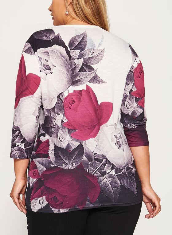 Embellished Rose Print Burnout Tunic, Red, hi-res