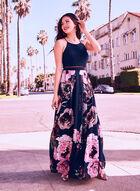 Floral Print Popover Dress, Blue, hi-res