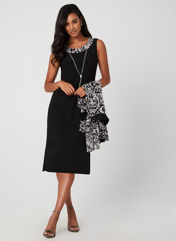 Floral Motif Dress & Cardigan Set, Black, hi-res,  cocktail dress, sleeveless, cardigan, floral motif, 3/4 sleeves, fall 2019, winter 2019