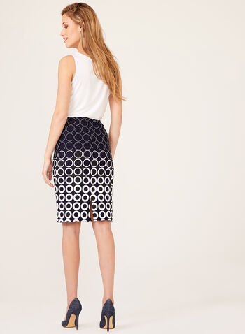Geometric Pencil Skirt , Blue, hi-res