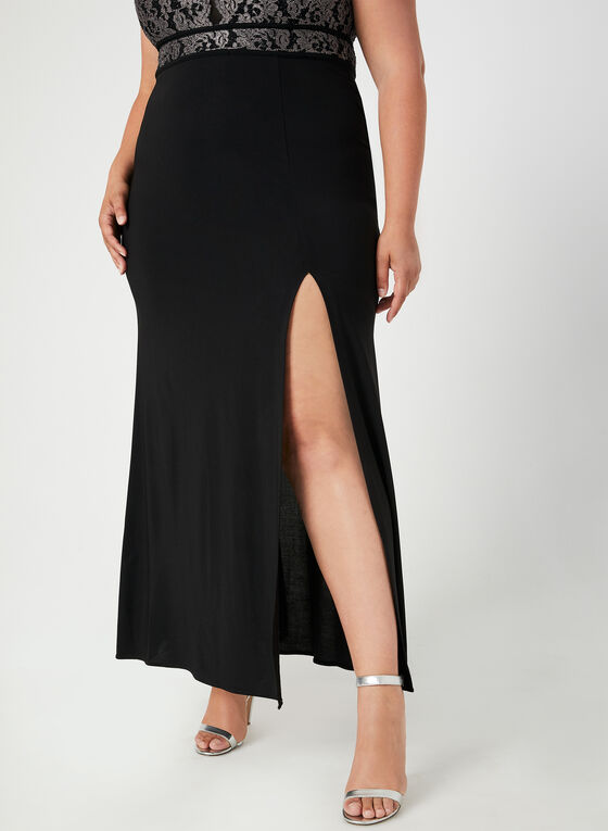 Lace Bodice Jersey Dress, Black