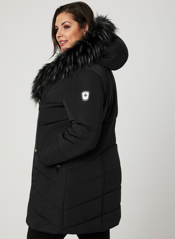 Northside - Faux Fur Trim Quilted Coat, Black, hi-res